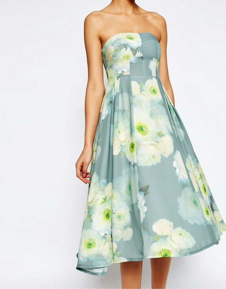 Asos Floral Bandeau dress