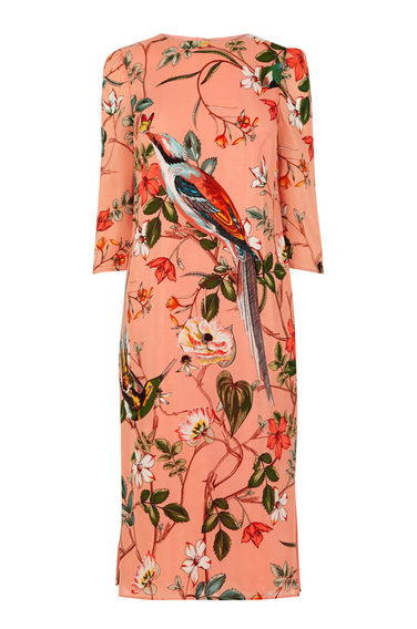 warehouse Bird Silk dress