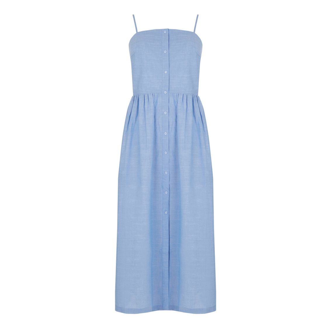 warehouse cotton dress blue
