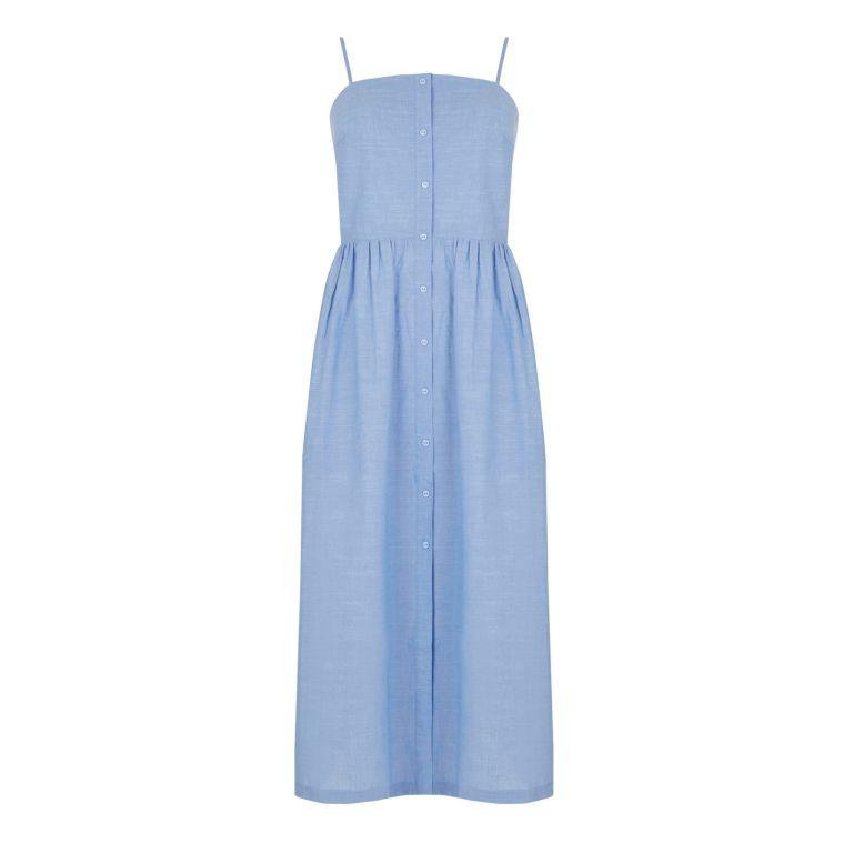 warehouse cotton dress blue