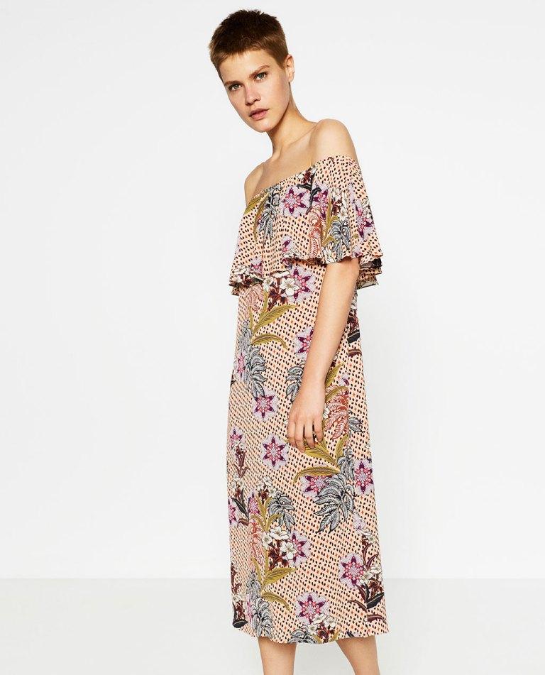 Zara Bardot Floral Dress