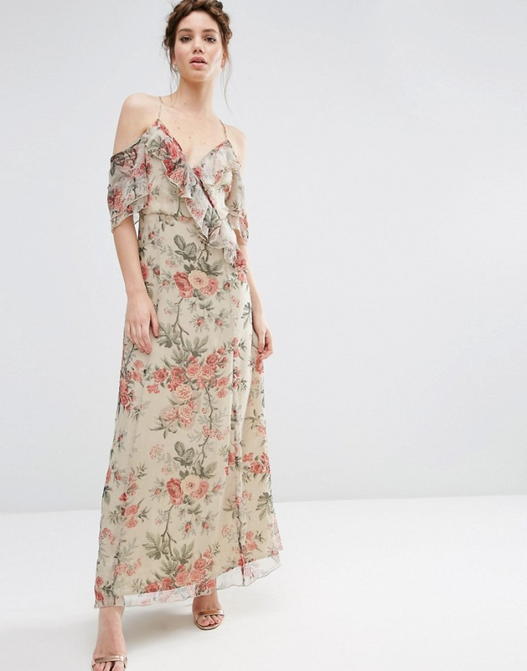 Asos Floral Bardot Dress