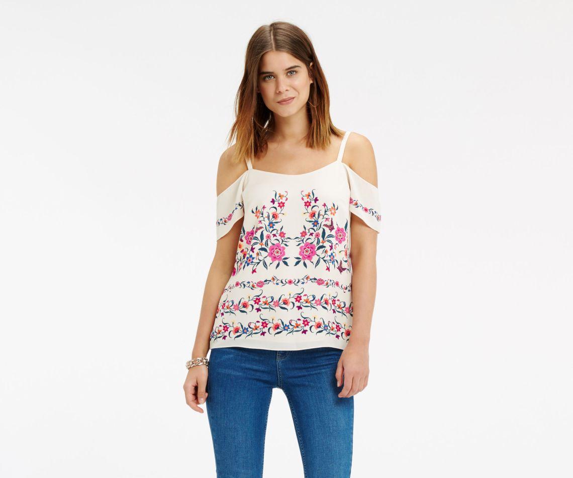 Oasis Flower Print bardot top