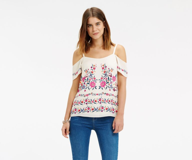 Oasis Flower Print bardot top