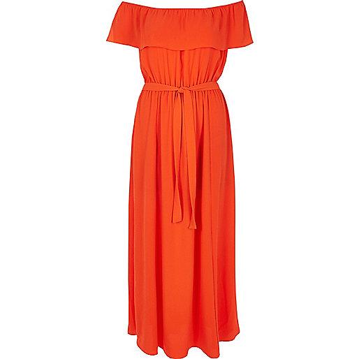 River Isaland Red Bardot Dress