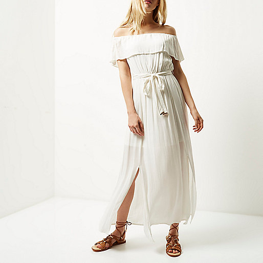 River Island Bardot Dress Cream