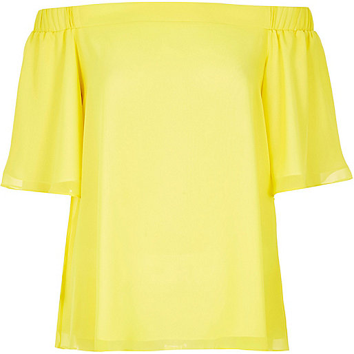 River Island Bardot Top Yellow