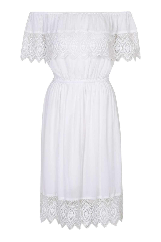 Topshop Bardot Dress White