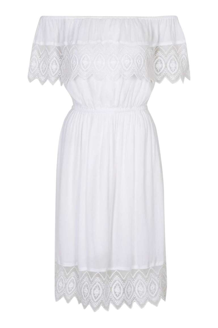 Topshop Bardot Dress White