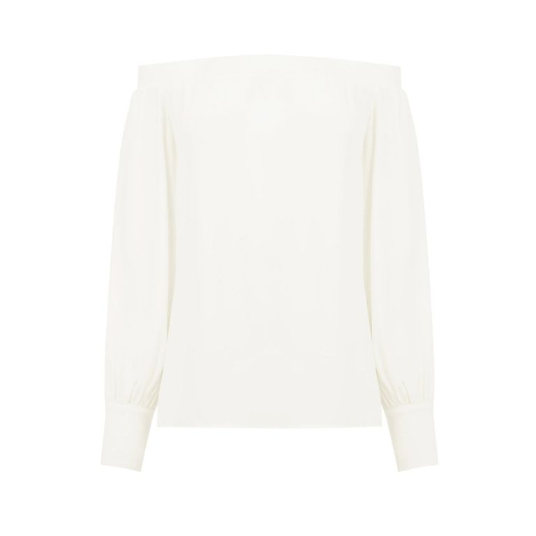 warehouse White Bardot top